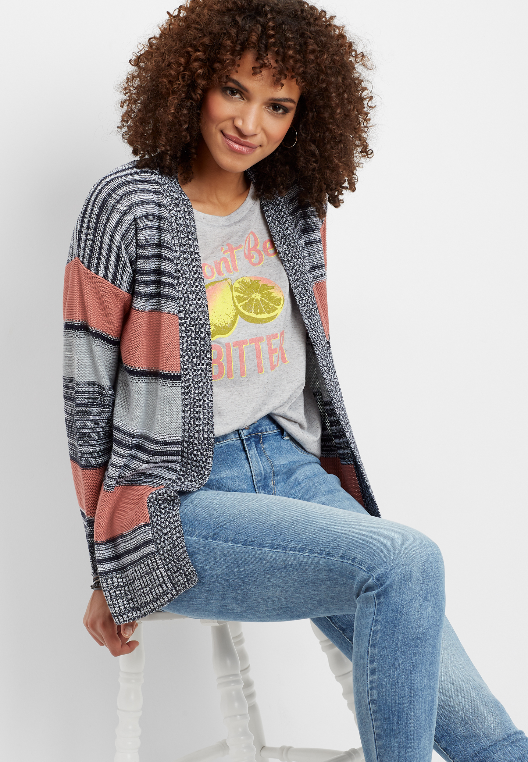 Open Front Striped Cardigan by Maurices