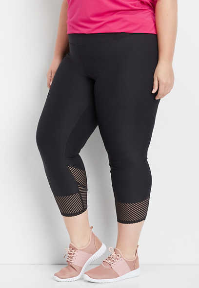 plus size black stripe mesh capri