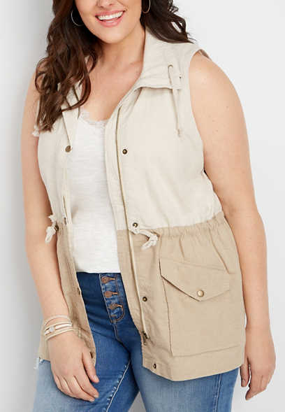 plus size colorblock zip front anorak vest