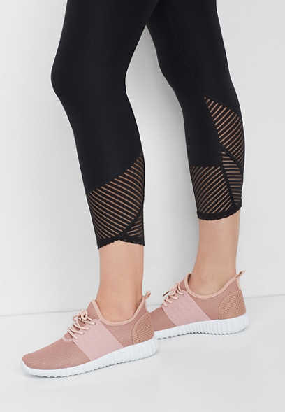 black stripe mesh capri