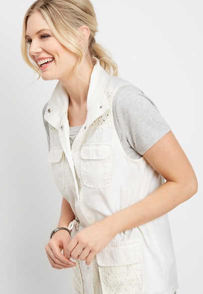 6962213fe97 white lace yoke vest
