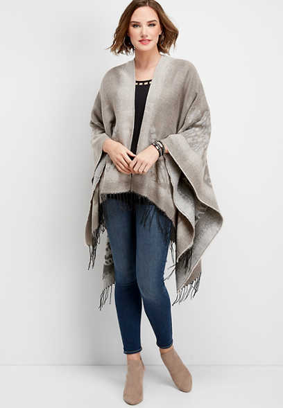 animal print fringe poncho