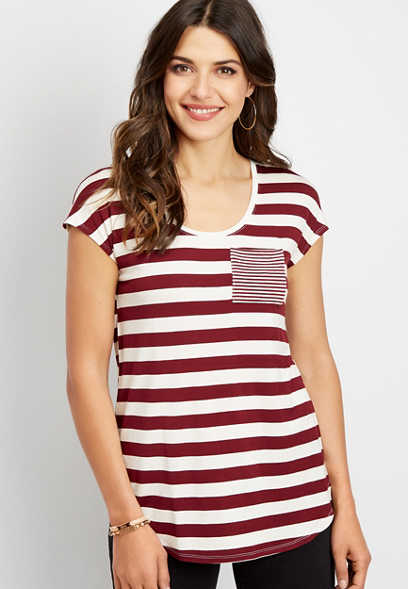 24/7 stripe print pocket dolman tee