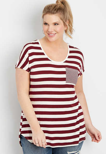plus size 24/7 stripe print pocket dolman tee
