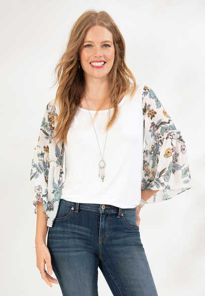 floral chiffon sleeve knit top
