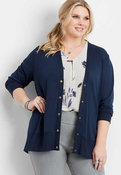 plus size navy snap front grandpa cardigan