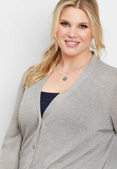 plus size gray snap front grandpa cardigan