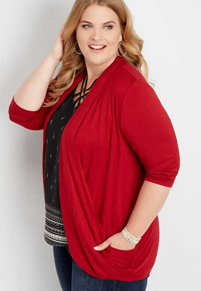3ab545f3b6c plus size red slouchy pocket cardigan