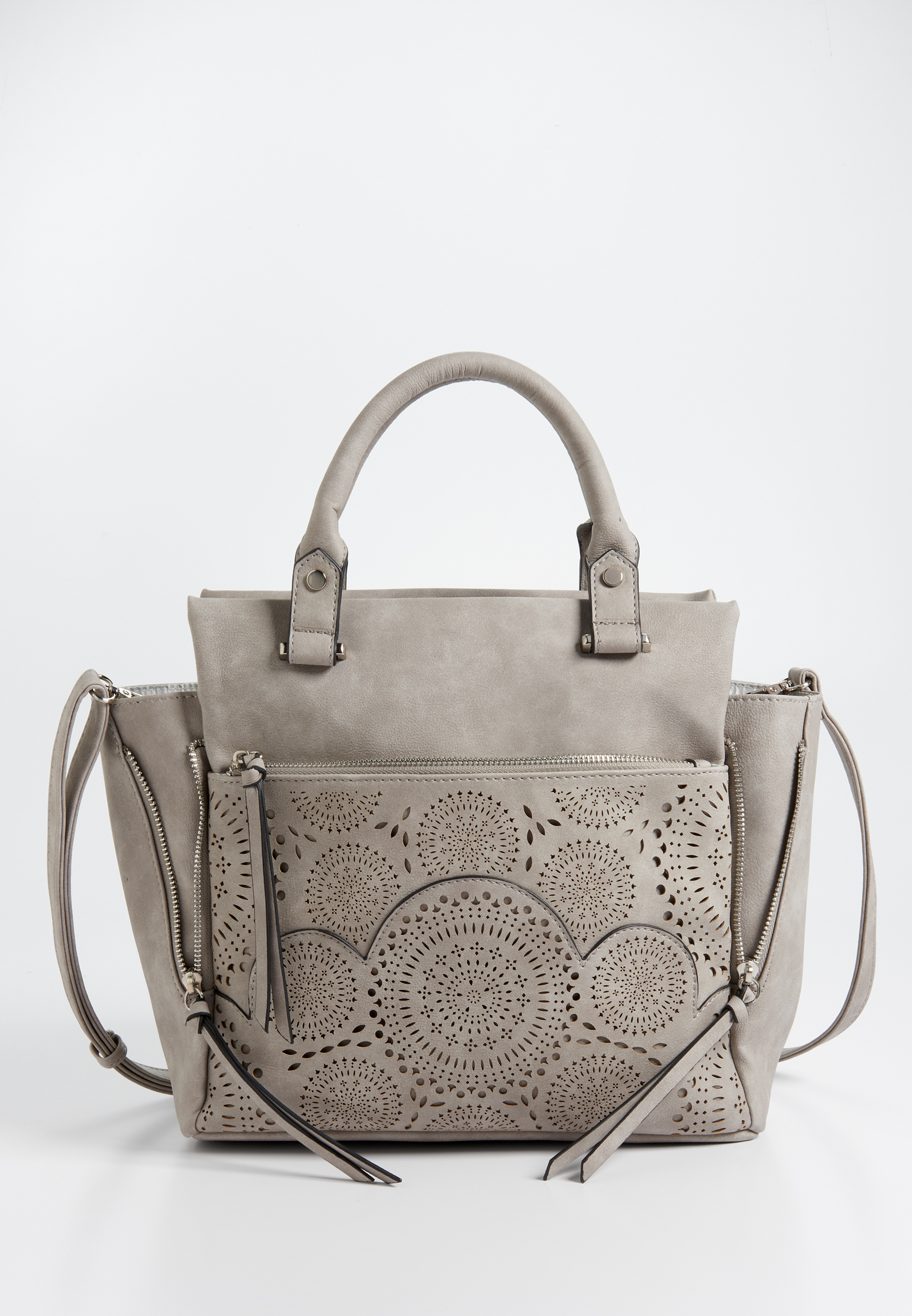 Perforated Faux Leather Satchel by Maurices