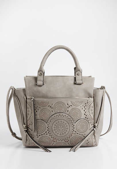 perforated faux leather satchel