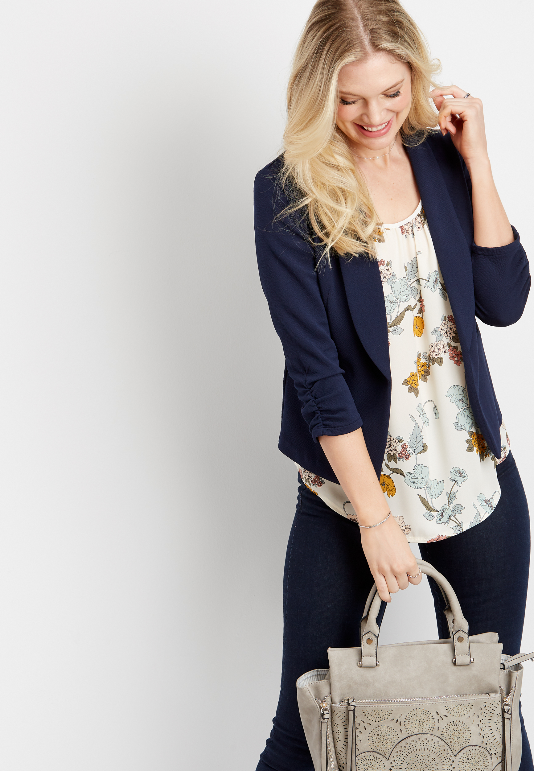 Blue Open Front Blazer by Maurices