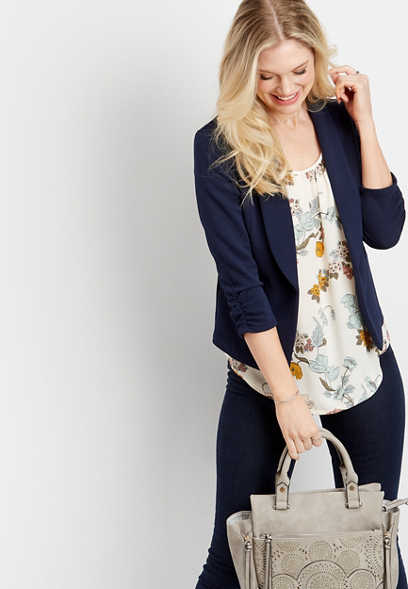blue open front blazer