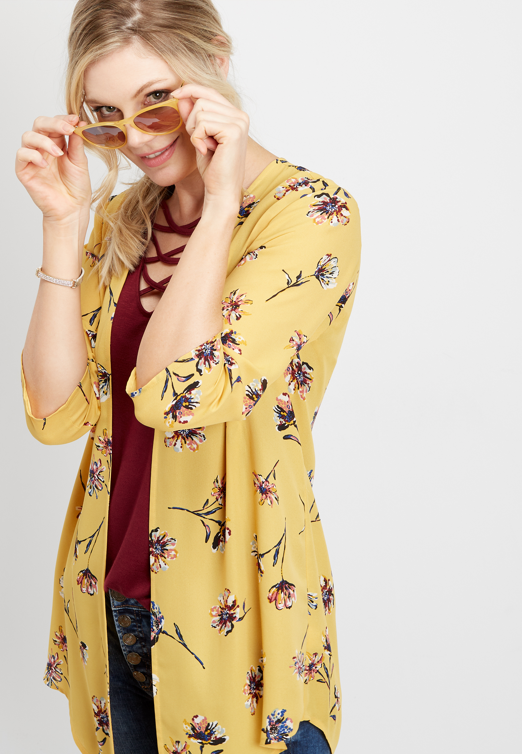 Floral Shirttail Kimono by Maurices
