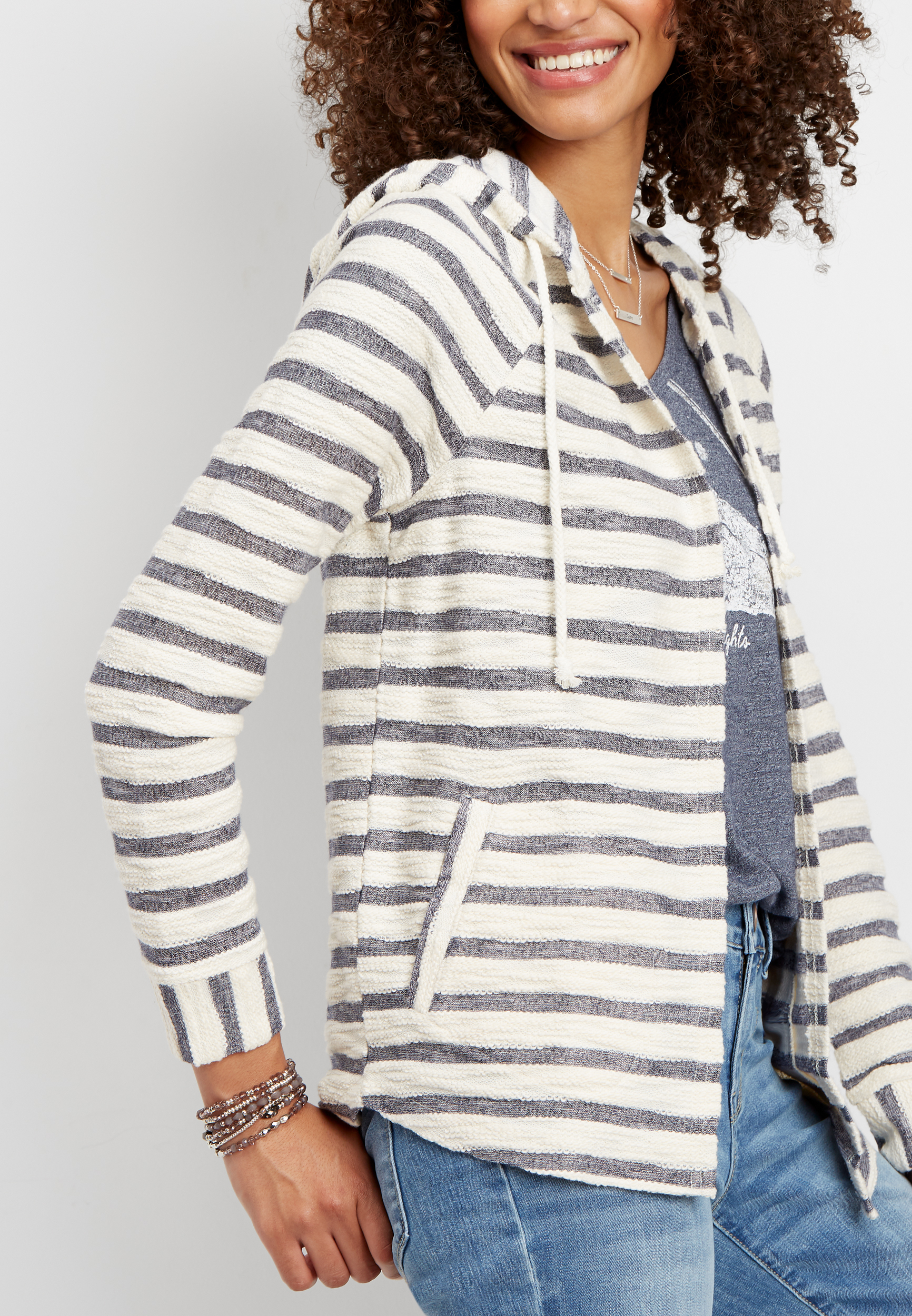 Stripe Print Hooded Cardigan by Maurices
