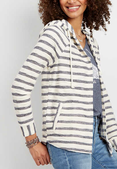 e7eb996031 stripe print hooded cardigan