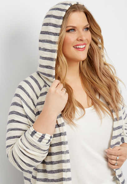 plus size stripe print hooded cardigan