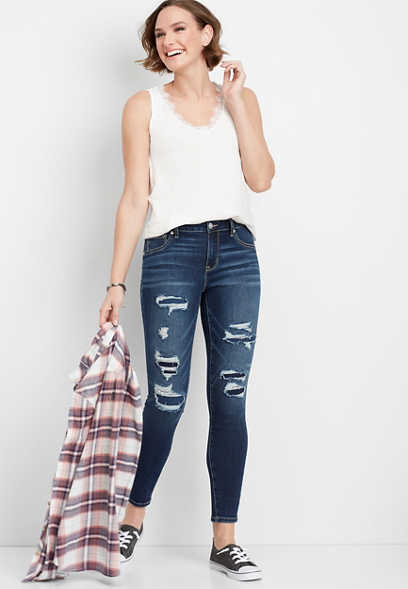 704f06ef702 DenimFlex™ high rise dark shredded ankle jegging