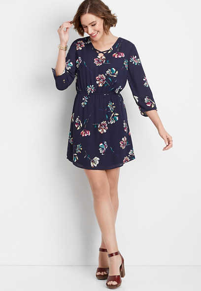floral lattice neck 3/4 sleeve dress