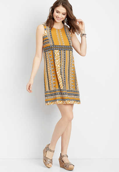 patterned placement tank dress