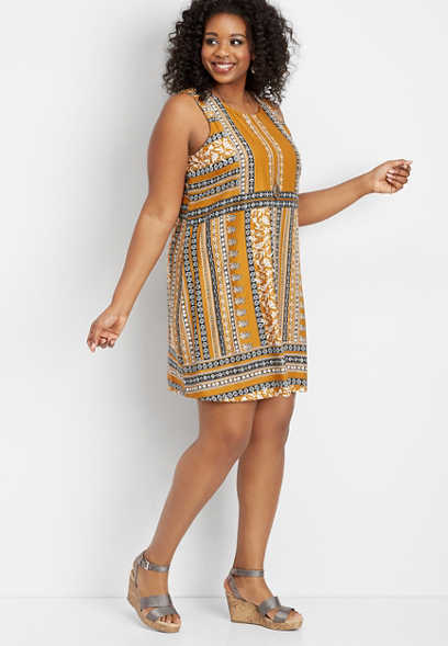 plus size patterned placement tank dress