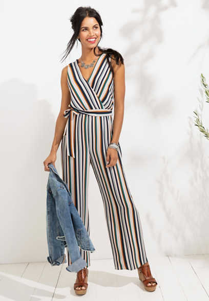 variegated stripe tie front jumpsuit