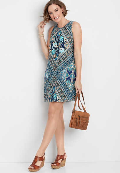 floral patterned keyhole back tank dress