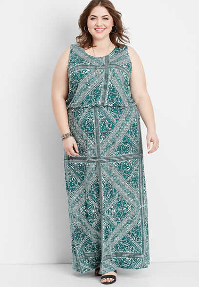 plus size geo lattice back maxi dress