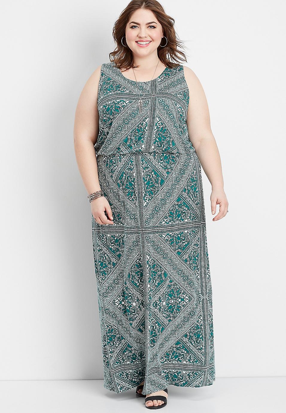 plus size geo lattice back maxi dress | maurices