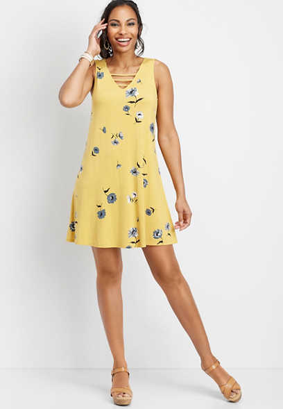 cad10d8577 24 7 lattice floral swing dress