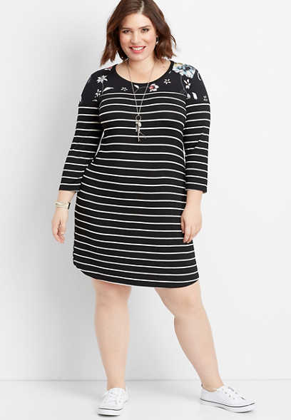 plus size 24/7 floral stripe baseball dress