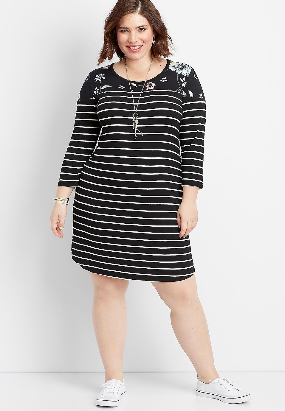 plus size 24/7 floral stripe baseball dress | maurices