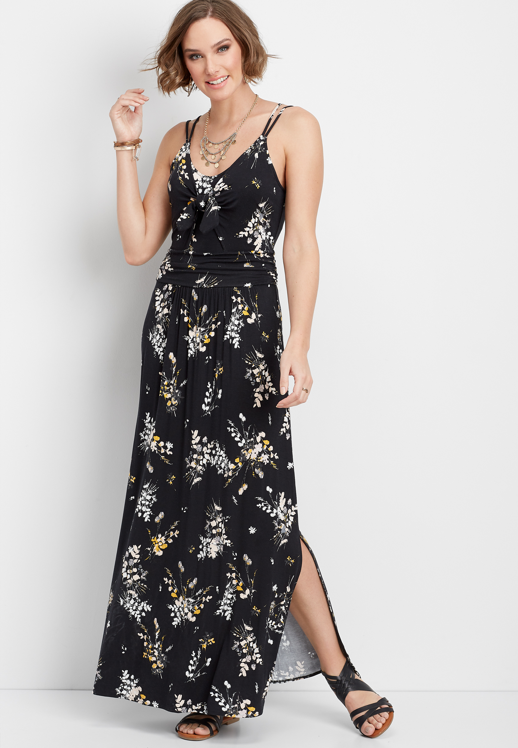 Floral Tie Front Maxi Dress by Maurices