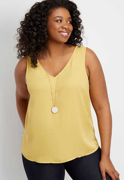 plus size solid v-neck and back tank