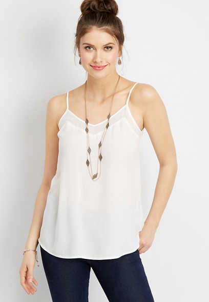 solid v-neck tank