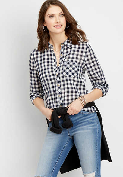 gingham plaid button down shirt