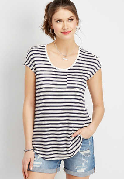 24/7 stripe pocket dolman tee