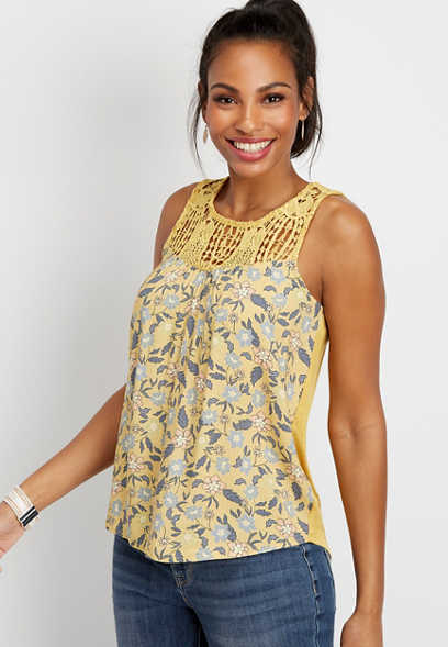 floral crocheted yoke tank