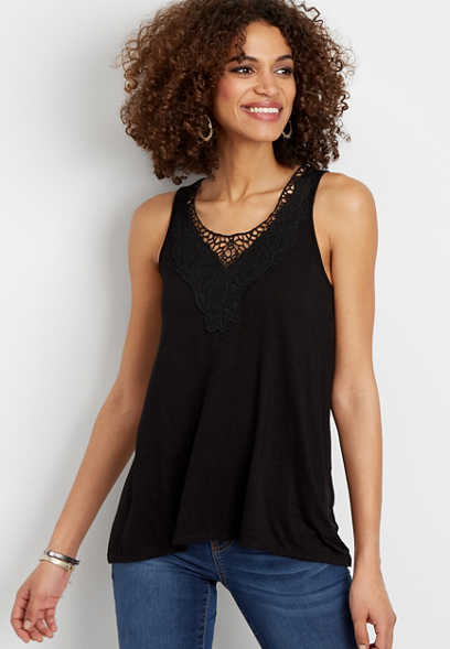embroidered yoke sleeveless top