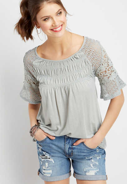 smocked crocheted sleeve top