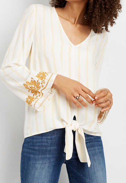 stripe tie front embroidered sleeve top