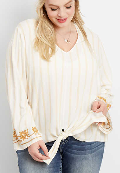 plus size stripe tie front embroidered sleeve top