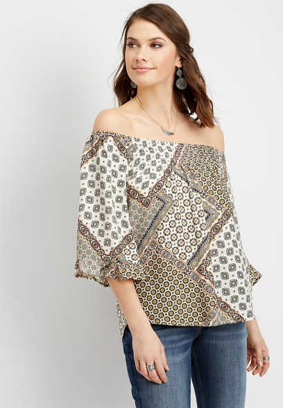bandana print off the shoulder top