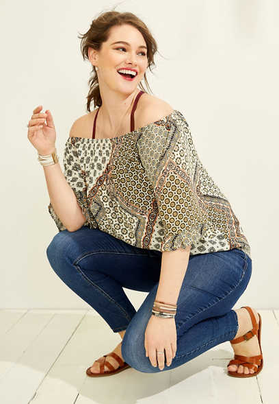 plus size bandana print off the shoulder top