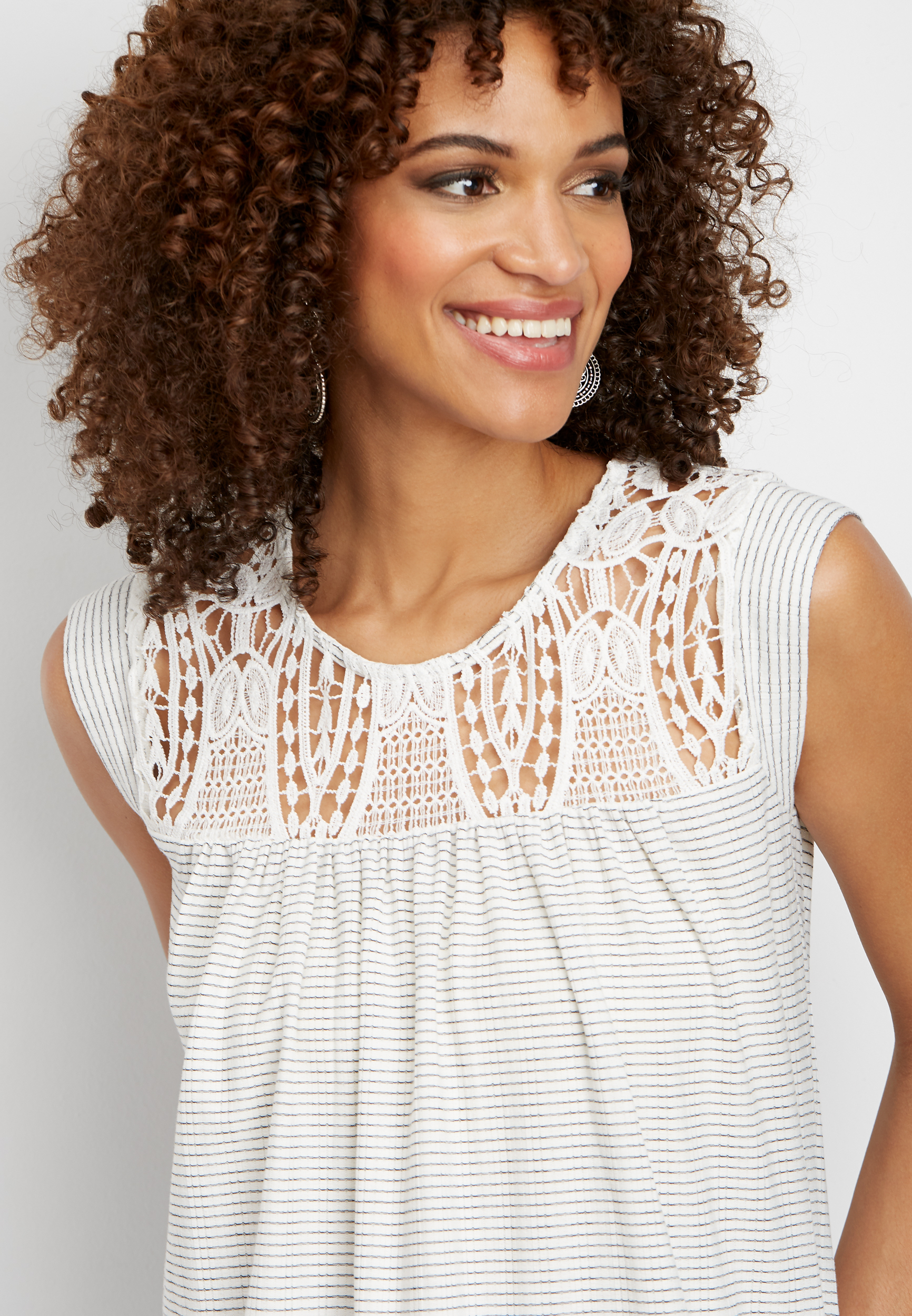 Sleeveless Stripe Lace Tank by Maurices