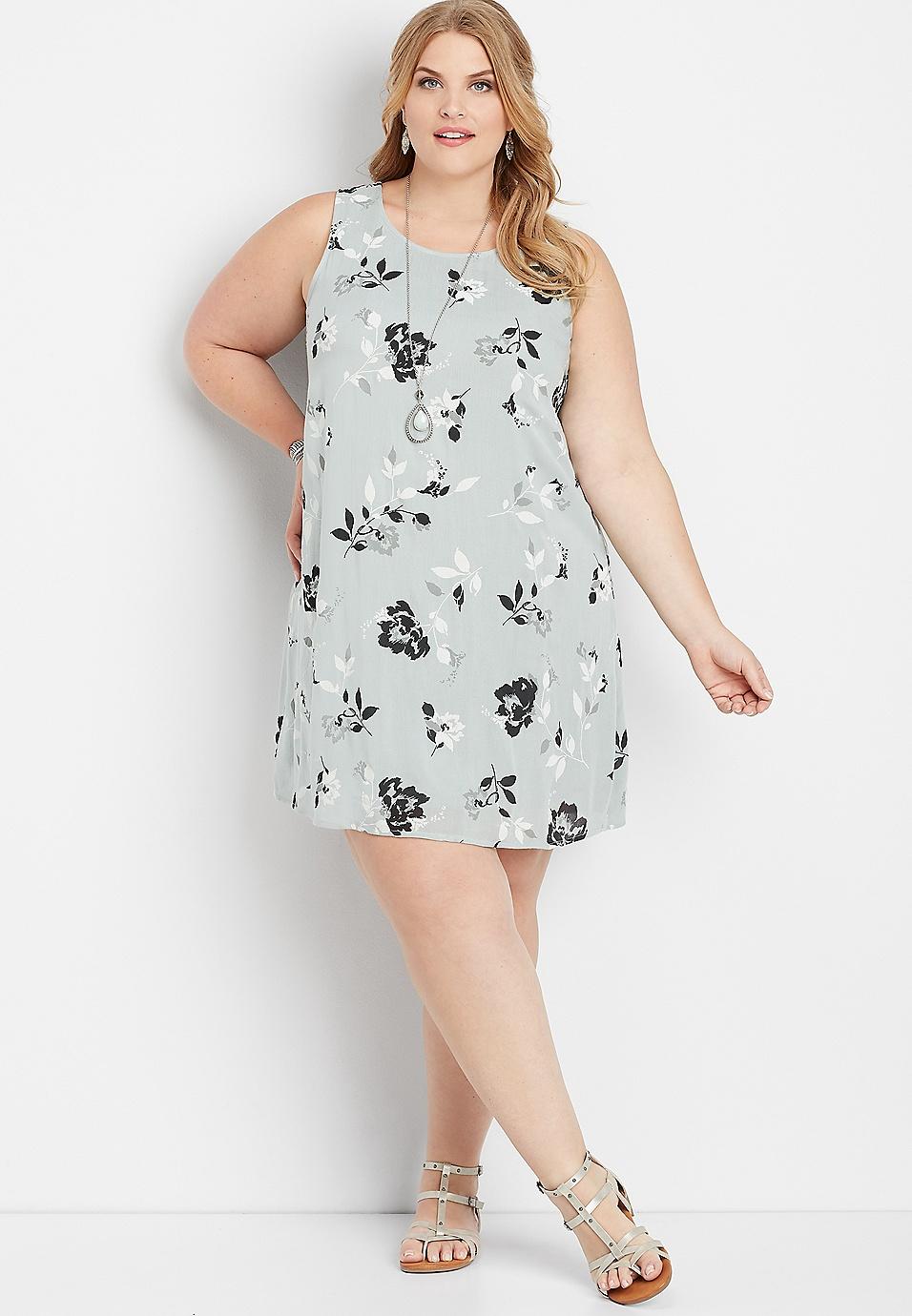 plus size floral bar back tank dress | maurices