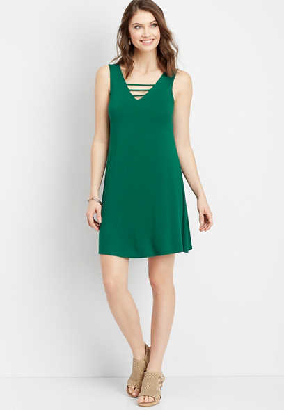 24/7 lattice neck swing dress