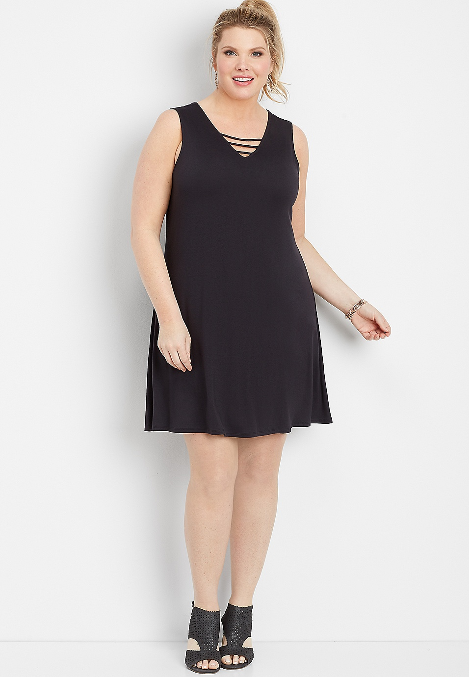 plus size 24/7 lattice neck swing dress | maurices