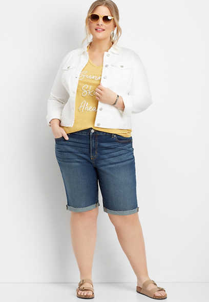 "plus size DenimFlex™ dark wash cuffed 11"" bermuda short"