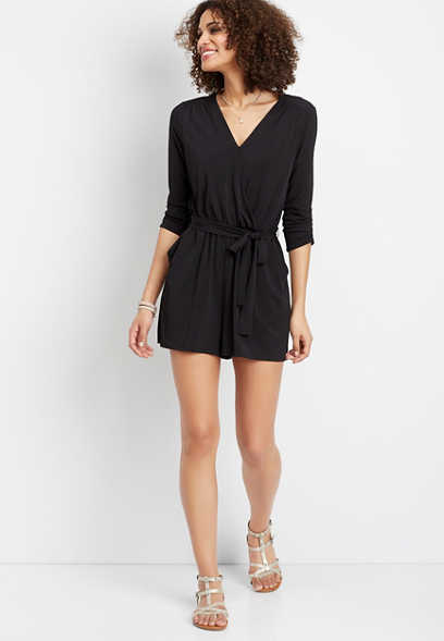 solid 3/4 sleeve romper