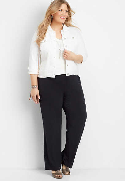 plus size black wide leg pant
